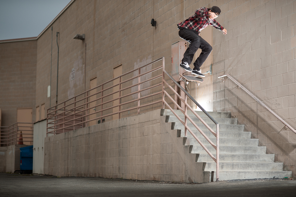 Photograph © Phil Blair, 2011. No use without permission. Adrian McCoy, Heelflip Boardslide, Anaheim, California