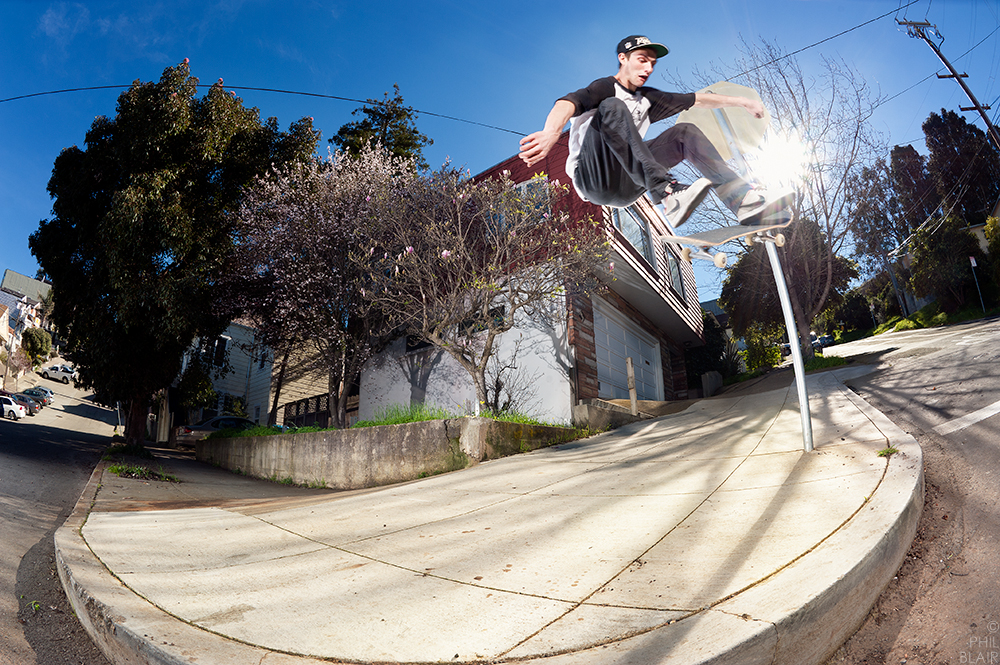 Terence Goddard, Frontside Heelflip, San Francisco, CA - Photo by Phil Blair. Published in SBC Magazine